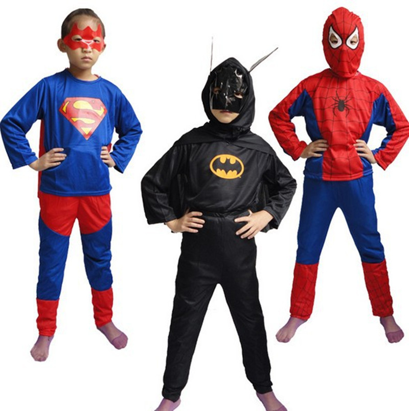 Super Hero Children Theme Party Costume Spiderman Batman Superman Clothing Halloween Boys Girls Costumes Free Shipping