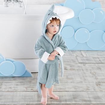 Tamaño L encaja 4-6 años de edad los niños azul y rosa tiburón niños Albornoz/bebé Toalla de baño/infantil ponchos para la playa/nadar vestido