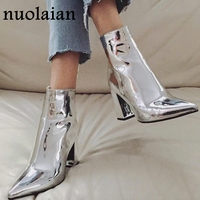8CM Brand Sliver Gold Ankle Sock Boots Woman Chunky High Heels Patent Leather Autumn Sexy Booties Punk Boot Women Winter Shoes