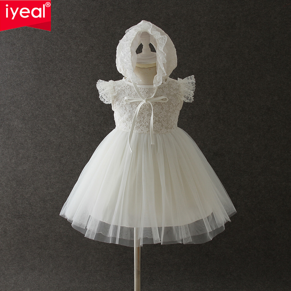 IYEAL Lace Baby Girl Dress New Tulle Princess Infant Party Dresses with Hat for Girls Summer Kids Toddler Baby Clothing ems dhl free 2018 new lace tulle baby girls kids sleeveless party dress holiday children summer style baby dress valentine