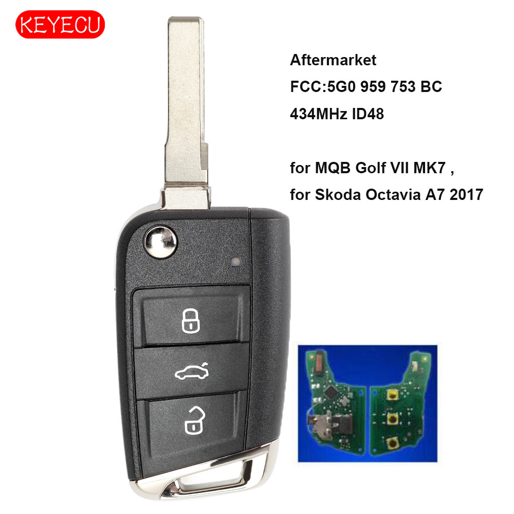 Keyecu Aftermarket Flip Remote Key Fob 3 Button for Volkswagen MQB Golf VII MK7, for Skoda Octavia A7 2017 P/N: 5G0 959 753 BC