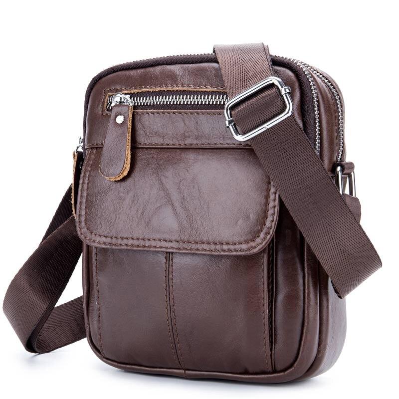 Vintage Men/'s Genuine Cow Leather Messenger Bags Cross Body Handbag Shoulder-Bag