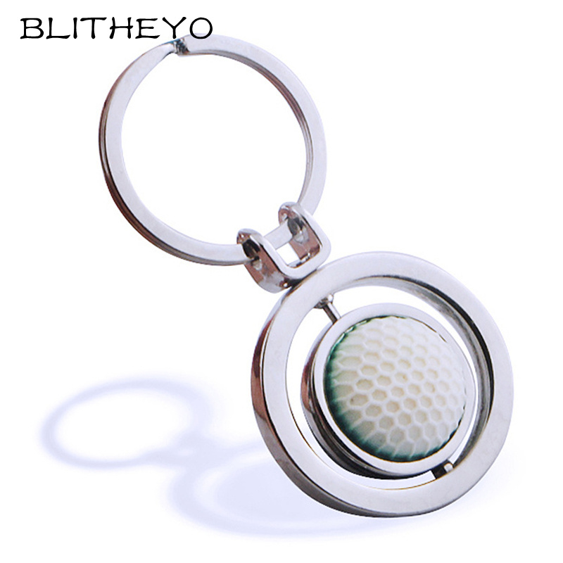 1 Piece 3D Rotary Rubber Golf Ball Zinc Alloy Metal Keychain Fashion Keyring Key Chain Creative Backpack Pendant Gift Jewelry