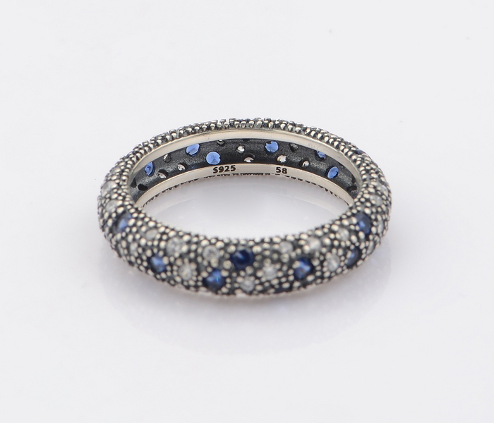 29152ab77 usa 925 sterling silver cosmic stars with clear cz and midnight blue  crystal ring jewelry woman