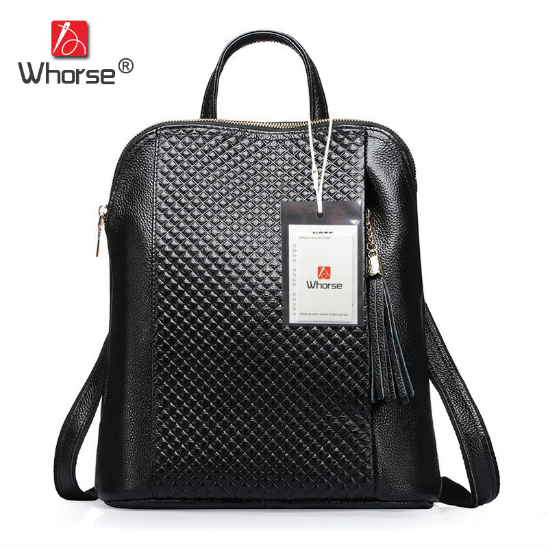 Luxury Plaid Tassel Style Genuine Leather Womens Backpack Casual Daypacks Real Cowhide Ladies Shoulder Bag Black Red Blue W07180 цена 2017