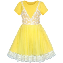 цена на Girls Dress 2-in-1 Lace Yellow Short Sleeve Party Dress Cotton 2020 Summer Princess Wedding Dresses Girl Clothes Pageant