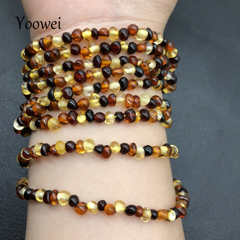 Yoowei 4mm Natural Amber Bracelet for Women Small Beads No Knots Multilayered Sweater Chain Necklace Genuine Long Amber Jewelry