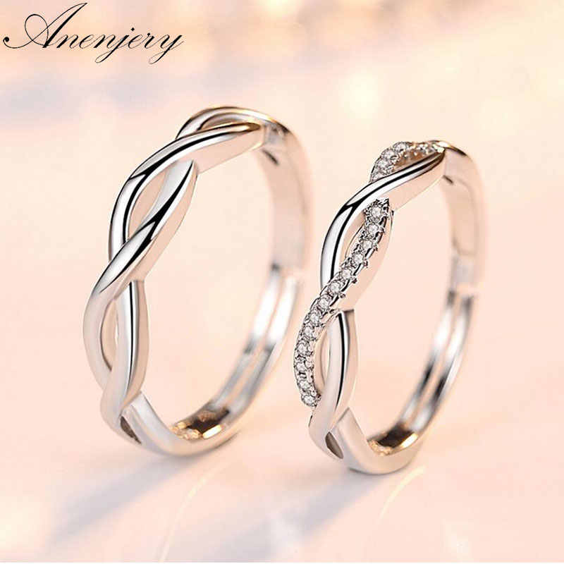 Anenjery 925 Sterling Silver Couple Wedding Rings Wave Zircon Love Opening Rings For Men Women anillos bague Gift S-R164