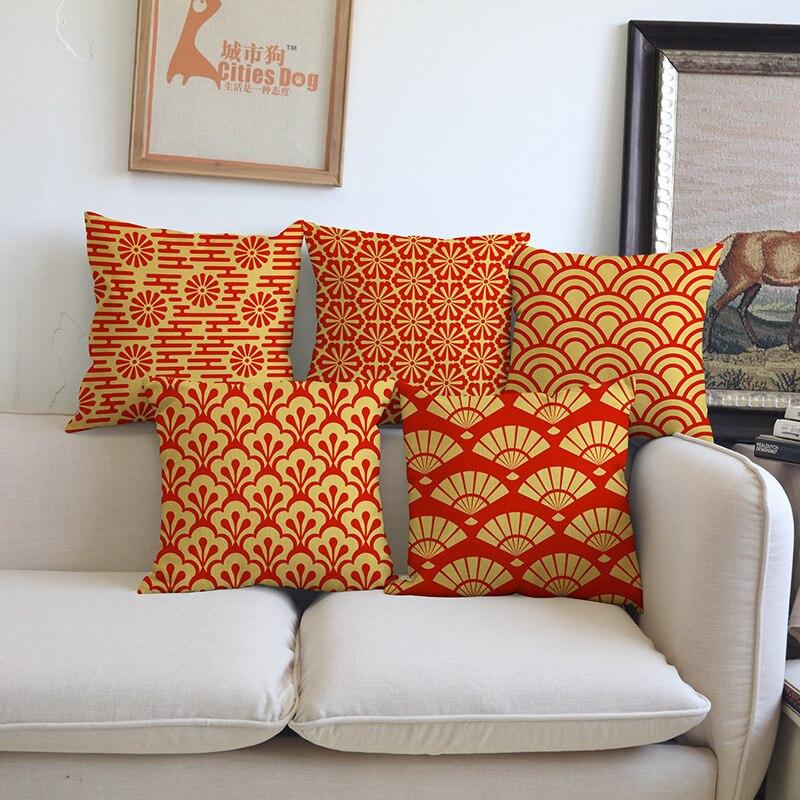 Orange fashion woven linen geometric painting 45 45 pillow - Federe cuscini divano ikea ...