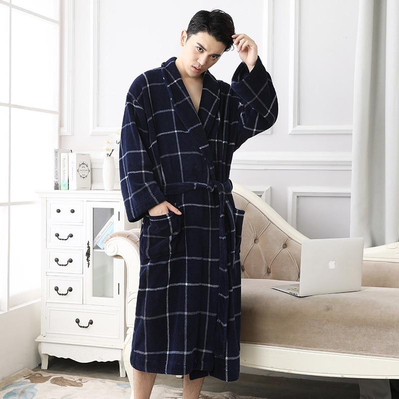Witnter Casual Men Bathrobes Flannel Robe V Neck Long Sleeve Warm Men Robe Fleece Kimono Warm Male Bathrobe Homewear Sleep XXXL in Robes from Underwear Sleepwears