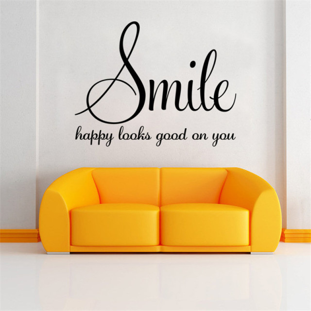 Smile happy looks good on you inspirational quotes diy art wall smile happy looks good on you inspirational quotes diy art wall sticker home decor 2015 christmas solutioingenieria Choice Image