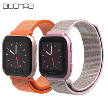 цены SCOMAS Replacement Woven Nylon Strap For Fitbit Versa Breathable Adjustable Closure Loop Watch Band For Fitbit Versa Smart Watch