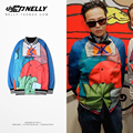 Retro color hip-hop jacket Korea ulzzang lovers baseball uniform tide skateboard men and women dance