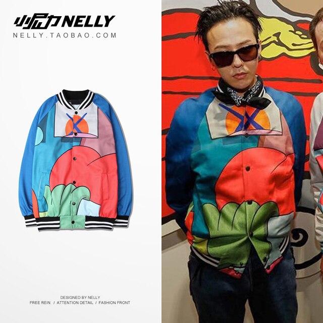 Retro color hip-hop jacket Korea ulzzang lovers baseball uniform tide skateboard men and women dance