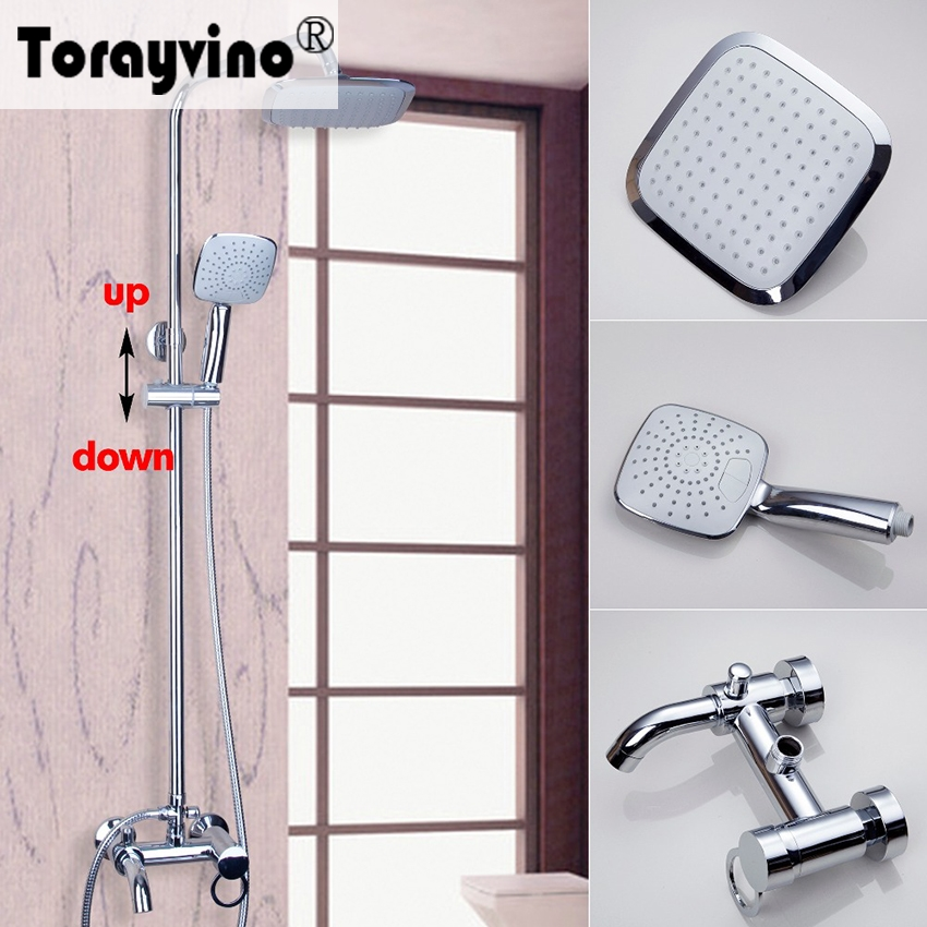 Torayvino Polished Chrome Water Tap Bathroom Faucet Wall Mounted Shower Set sognare new wall mounted bathroom bath shower faucet with handheld shower head chrome finish shower faucet set mixer tap d5205