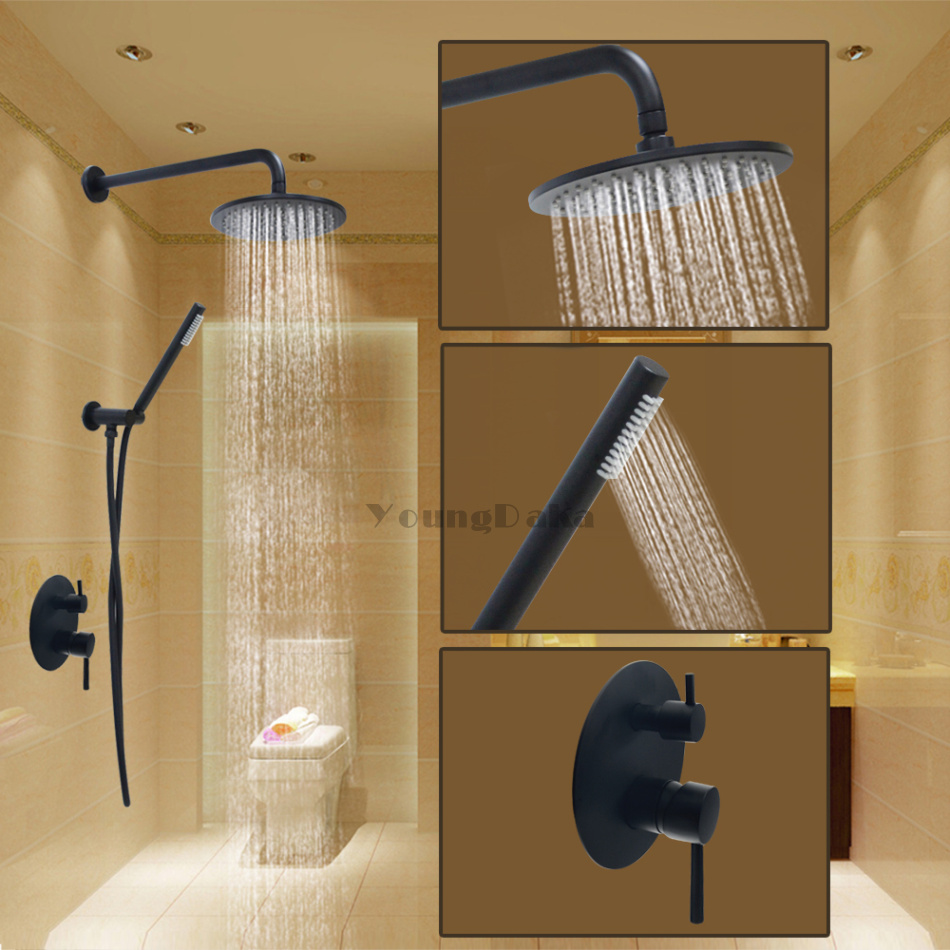 Brass Black 8 Inch Round Rainfall Shower Set Bathroom Hot &Cold Wall ...