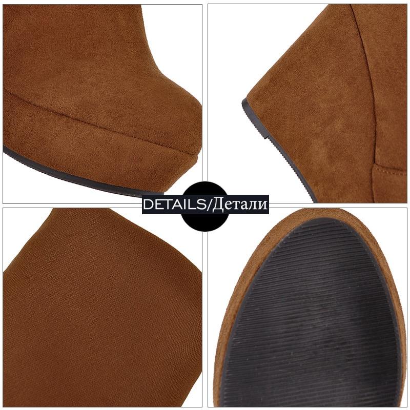 Altos Plataforma Redonda Sobre Mujeres Colour Dedo Femenino black Zapatos Cuñas Rodilla La caramel Botas Tacones 2018 Colour Calzado Pie Invierno caramel Wetkiss Nuevo Del Estiramiento Negro xqw8EaXCC