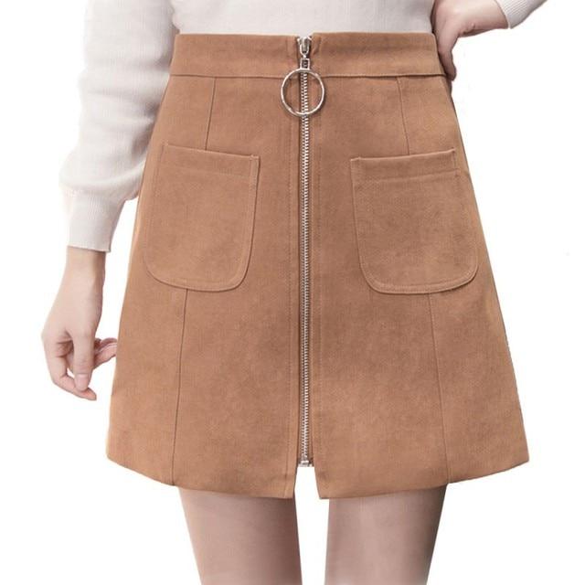 2b208eed0 2018 Girls Skirts Autumn/Winter High Waist Velvet Mini Skirt For Women  Pocket Zipper Skirts
