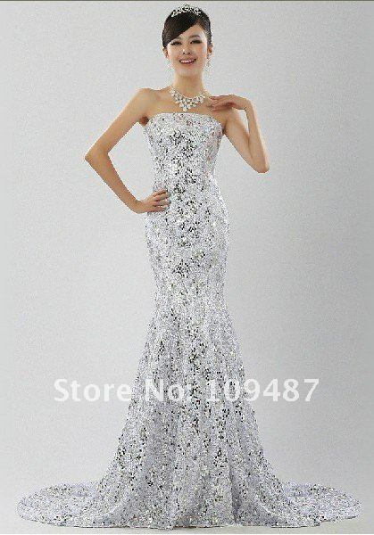 Shock Models Dress Lace Wedding Sequined Fishtail Gown Royal