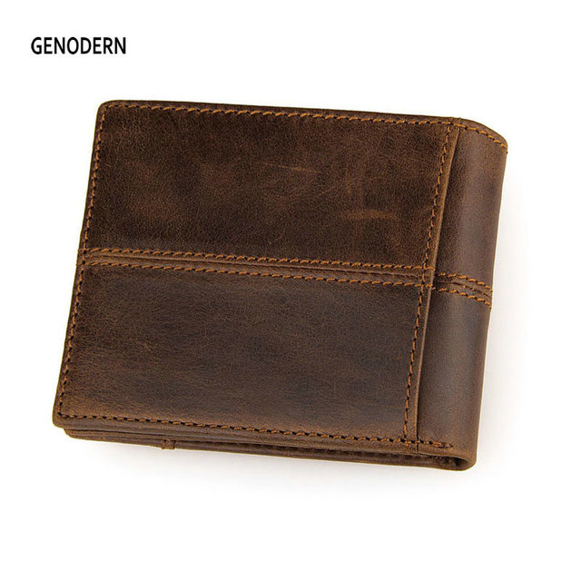 GENODERN Patchwork Style Cow Leather Male Purse Short Wallet for Men Genuine Leather Wallets Brown Male Purses Men Wallets 1
