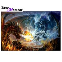 Ever Moment Dragon Fire Diamond Painting Cross Stitch Picture Mosaic Full Square Drill Diamond Embroidery Rhinestone S2F1284