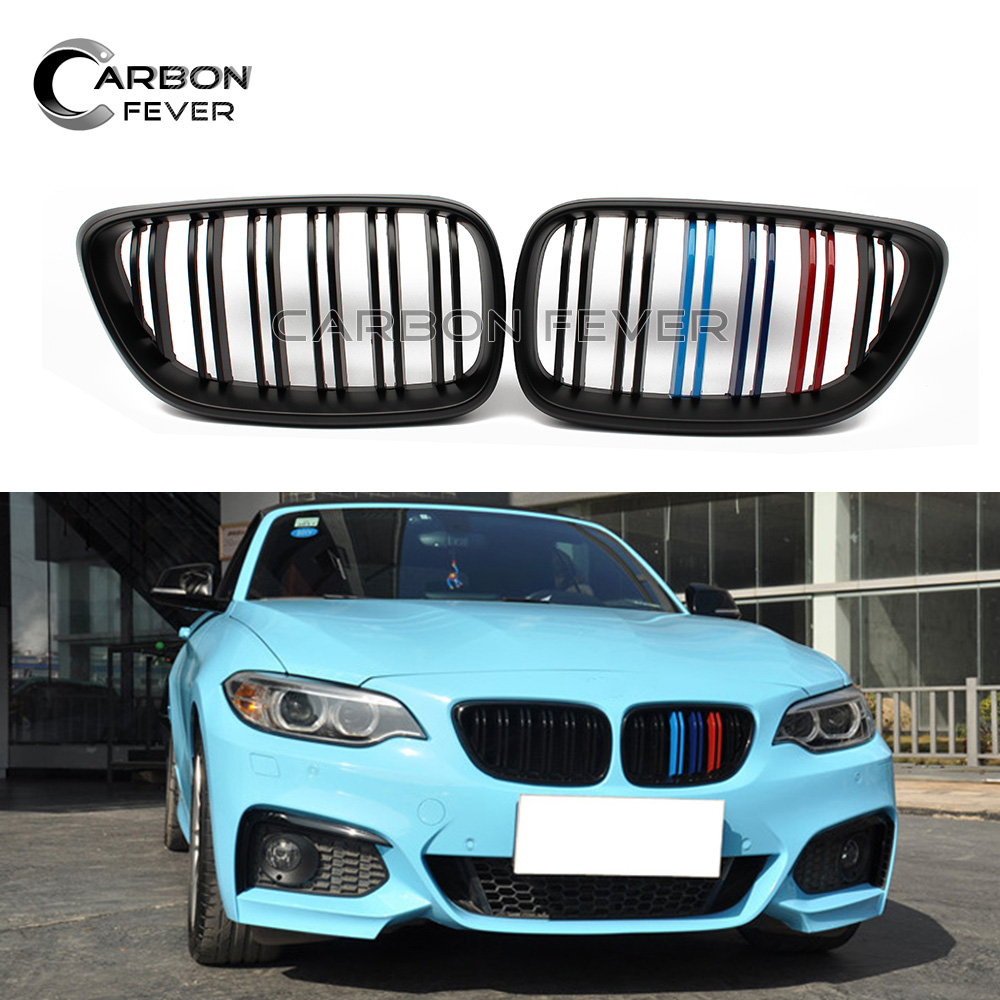 F22 ABS & Carbon Fiber Front Bumper Kidney Grille Mesh For BMW 2 Series F23 F87 M2 2014 + 220i 228i f22 performance carbon fiber spoiler f23 f87 m2 wing rear trunk lip for bmw 2 series 2014 2016 2 door coupe m235i 218i 220i