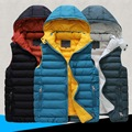 Высокое качество рукавов куртки известный бренд ГОРЯЧЕЙ хлопка мягкой мужская повседневная вниз жилет жилет новый 2015 осень-весна