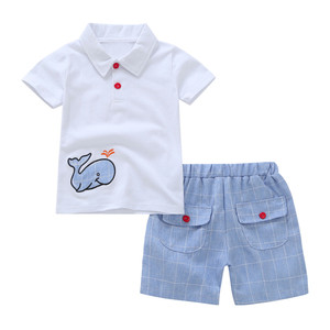 SZYADEOU Toddler Baby Boy Cartoon Embroidery Whale Tops T-Shirt ShortsOutfits Set Clothes Одежда для новорожденны wholesale L4