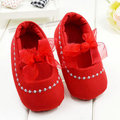 Comfy Red Cotton Little Girl Lace Bow Baby Shoes Toddler Shoes Soft Bottom First Walkers