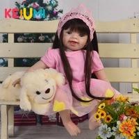 KEIUMI Fashion 22'' 55 cm Reborn Bebe Bonecas Soft Silicone Body Princess Reborn Baby Dolls For Girl Kids Birthday XMAS Gifts