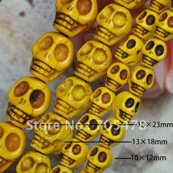 "2012 wholesale 13*18mmYellow Turquoise Gemstone Skull Loose Beads 16""L (22Pcs/strand)Fit Jewelry DIY Free Shipping"