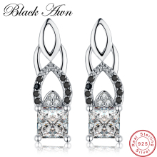 [BLACK AWN] Genuine 925 Sterling Silver Engagement Hoop Earrings for Women Black&White Stone Jewelry Bijoux T017