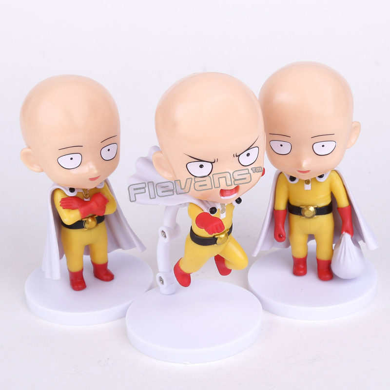 Anime Cute ONE PUNCH MAN Saitama Sensei PVC Figures Collectible Toys 3pcs/set 4 10cm one set 4 pcs 95mm