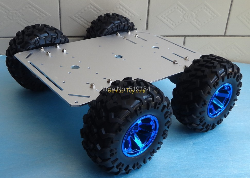 Supper big Rugged Intelligent 4WD car tank tires 130mm aluminum chassis large loading trolley