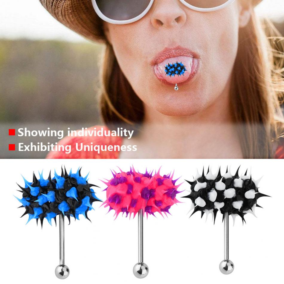 Punk Women Men Vibrating Tongue Ring Stud Body Piercing Jewelry With Battery BT