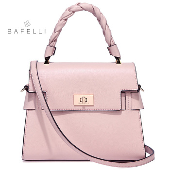 BAFELLI new arrival split leather shoulder bag spring sweet hand-woven handle bolsa feminina lady box handbags women bag