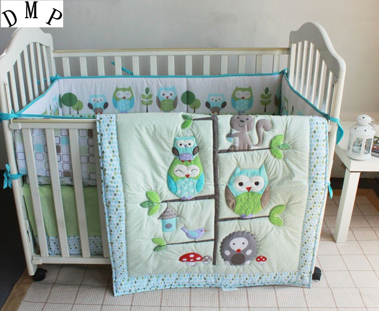 Promotion! 7pcs Crib Baby Bedding Set for Girl Boy Baby Bed Linens Cotton Cot Set ,include (bumpers+duvet+bed cover+bed skirt) promotion 6pcs baby bedding set cot crib bedding set baby bed baby cot sets include 4bumpers sheet pillow