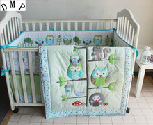Promotion! 7pcs Crib Baby Bedding Set for Girl Boy Baby Bed Linens Cotton Cot Set ,include (bumpers+duvet+bed cover+bed skirt)