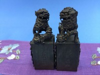 Copper Manual Carved Chisel Pixiu Seal 2 Pcs Lot Dragon Engraved Edge Of The Seal