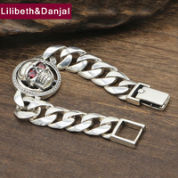 Hiphop Punk Skull Mosaic stone Bracelet 100% 925 Sterling Silver Jewelry Men Creative Name friendship Bracelet Bangle 2019 B63