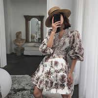 2019 sommer frauen drucken puff sleeve kleid V kragen urlaub kleid