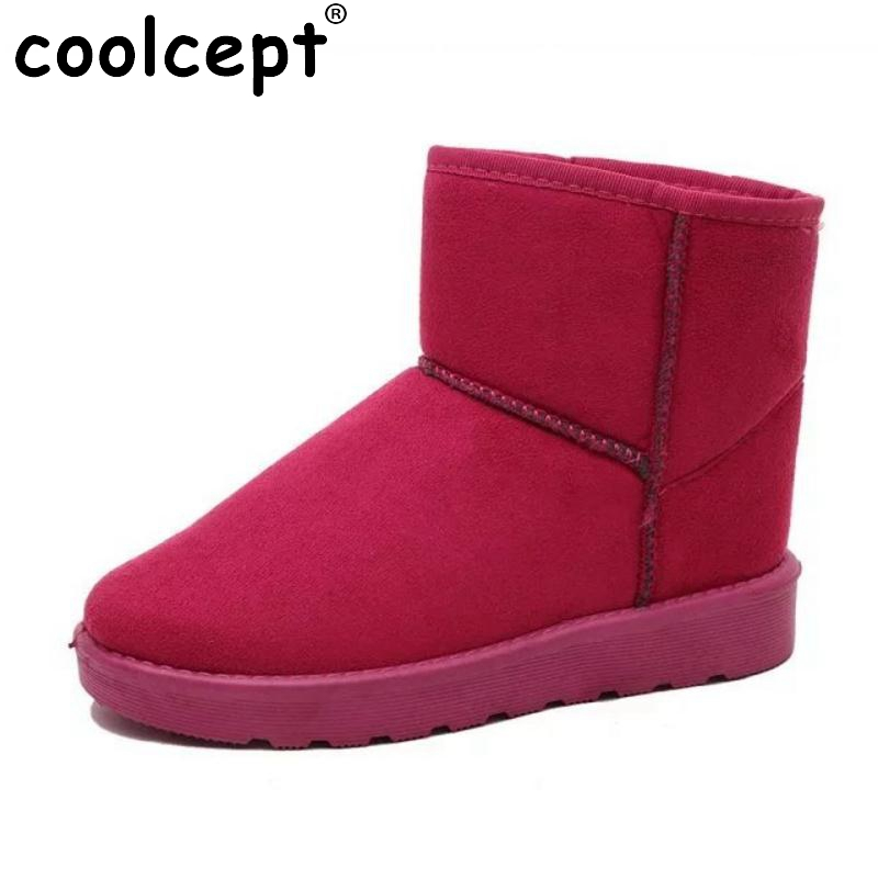 Coolcept  9 Colors Women Half Short Boots Warm Fur Flats Boot Women For Cold Winter Shoes Snow Boots Women Footwear  Size 36-40