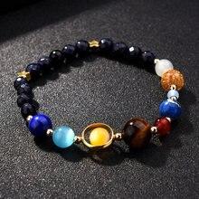 Женский браслет с солнечной системой 7 чакр лавовые камни для