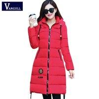 VANGULL Winter Jacket Women Hooded Long Cotton Padded Female Parka Outwear 2018 New Fashion Zipper Applique Drawstring Coats