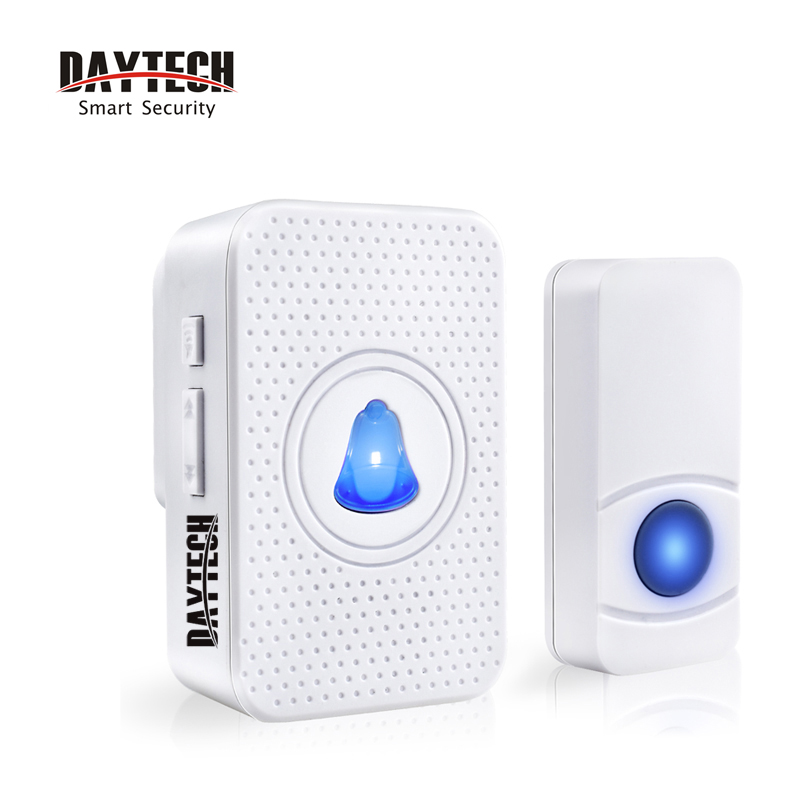 DAYTECH Doorbell Chime Door Bell Ring Alarm Wireless Doorbell Smart Home Welcome Bell Waterproof Push Button LED Indicator ks v2 welcom chime bell sensor