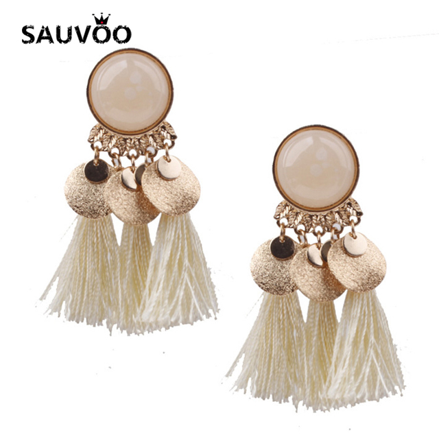 Sauvoo 2018 Fashion Summer Tassel Earrings for Women Lady Ethnic Bohemian  Statement Red Tassels Red Black