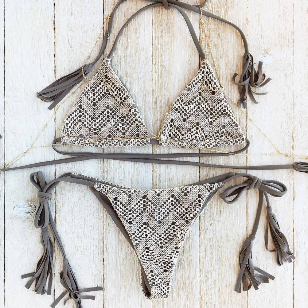 Muti Rəngli Crochet Krujeva Bikini 2019 Qadın Halter String Mayo - İdman geyimləri və aksesuarları - Fotoqrafiya 1