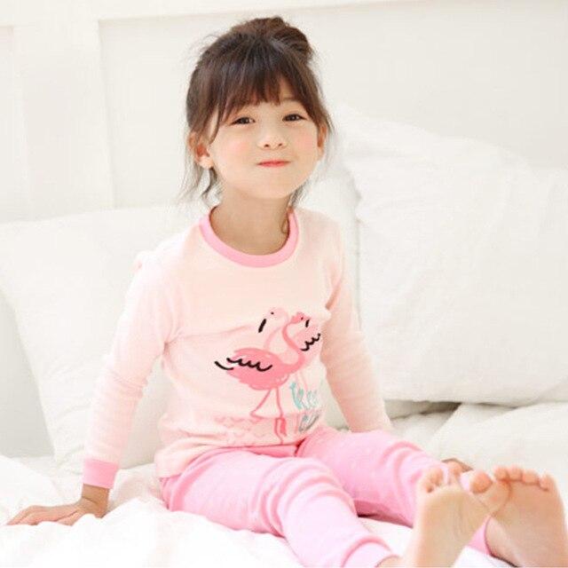6a3a7d2aaf Koreanischen stil Flamingo muster Mädchen Schlafanzug Baby mädchen mode  schlafenabnutzung Kinder Bequeme Baumwolle Pyjamas