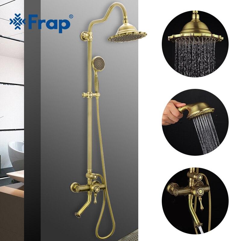 FRAP estilo torneira do chuveiro de bronze antigo torneira do chuveiro do banheiro misturador do chuveiro de chuva set sistema de banho de cachoeira torneira torneiras