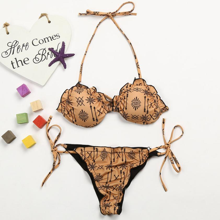 Womail Vintage Print Straps Swimwear Women Sexy Bandage Bikini Set 2018 female Bathing Swimsuit Push Up Swiming Suit May Beach